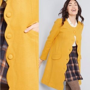Yellow Modcloth scalloped coat like new